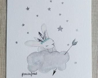 The rabbit illustration plays Indians on the cloud