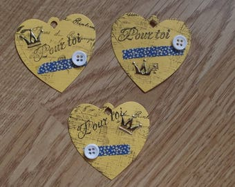 3 yellow heart tags for your scrapbooking creations.