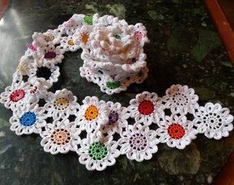 Cotton crochet scarf, crochet flower scarf / 1