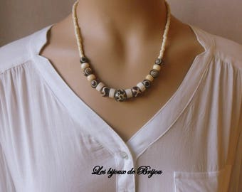 Chic ethnic short necklace made of yak bone beads, Horn and seed beads