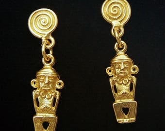 24K GP Precolumbian earrings Muisca chief AD060