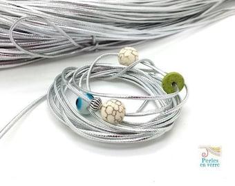 1 m silver Lurex flat cord for bracelet 1x2mm (fil161)