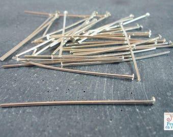 50 nails flat 40mm, silver metal (AP117)