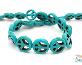 Peace and Love in turquoise blue howlite (PH186) 15mm 10 beads