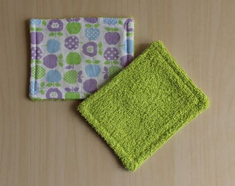 """Washable wipe """"small"""" - 8.5 x 11 cm - pattern Apple"""