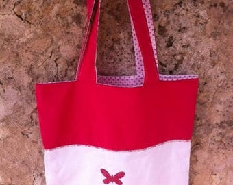 Tote bag cotton fuschia pink and white applied Butterfly
