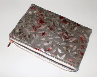 Grey Metallic Feather Print Clutch Bag , Make Up Bag , Zipper pouch , Cosmetic bag , Flat make Up Bag, Gift for her ,