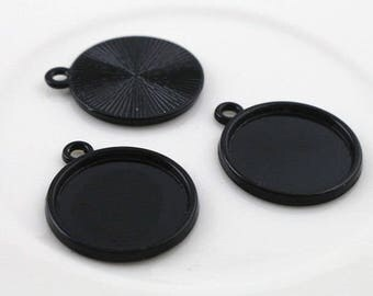 Black 20 mm 5 supports pendant 20 mm cabochon