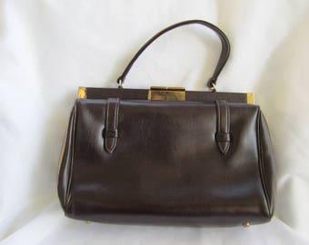 50s Dark Brown Satchel Handbag Purse with Gold Tone Clasp Vintage Accessories Wrist Handle