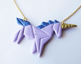 Purple and blue origami Unicorn in fimo and brass necklace