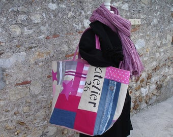tote bag patchwork denim fabrics in shades of pink