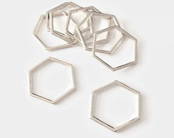 Set of 10/20 spacer silver Hexagon 20mm closed rings - BK - X 555
