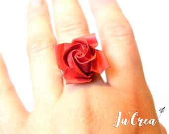 Ring adjustable origami rose