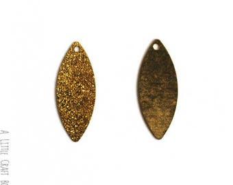 6 navette Glitter charm - gold