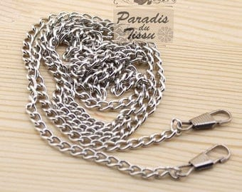120cm silver chain link 5mm for bag with carabiner clip