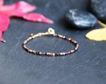 Wrap bracelet mix of beads, Garnet, Pyrite, spinel & plate complete yellow gold, natural gemstones, gift idea.