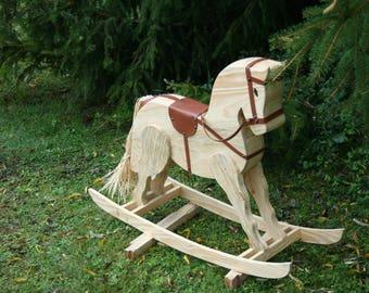 pine wood rocking horse