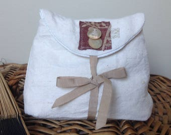 Small pouch made from old linen ecru and taupe