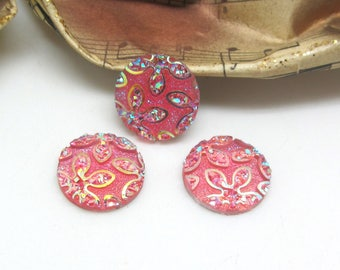4 cabochons 14 mm round resin flower glitter pink - 14 mm