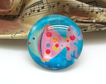 2 cabochons 14 mm glass fish Pop blue and pink - 14 mm
