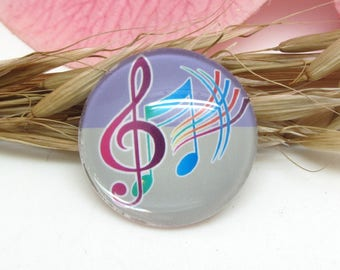 25 mm glass cabochon 1 Notes music treble clef 3-25 mm