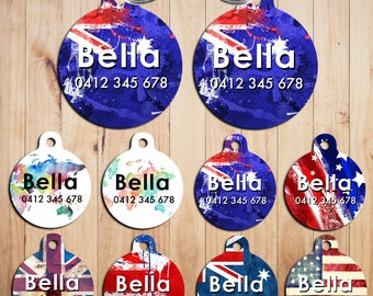 Metal Steel Personalized Pet Tags cat Tag dog Tag Custom ring Name Tags Australia Flag England Flag Hand made print