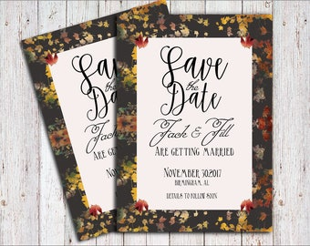 Wedding invitation template, invitation printable, Save the Date invitation, Autumn Wedding, Fall Wedding, Bridal Shower, Digital File, Card