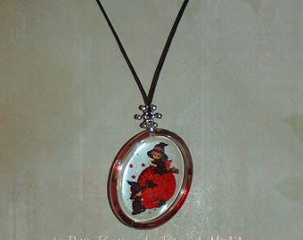 Halloween - oval pendant - little witch and pumpkin