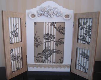Frame triptych shabby chic French toile de jouy themed bird
