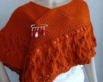 Paprika wool hand knit shawl pattern timeless soft.