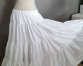 Gypsy SKIRT in white cotton.  HAND MADE