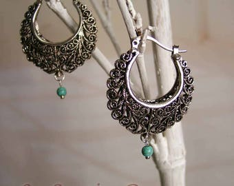 CHENLA silver turquoise earrings
