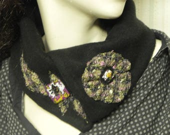 unique this Choker in Black Fleece fabric accented with a flower and an applied entirely handmade