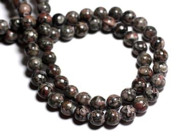 Wire 39cm env - stone beads - Ocean fossil Jasper 39pc black balls 10 mm