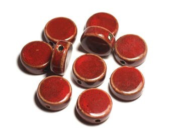 50pc - ceramic porcelain beads 20mm Maroon red speckled beads