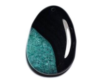 N17 - Stone - black Agate and turquoise blue Quartz pendant drop 55 mm - 8741140001404