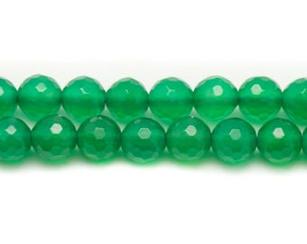 10pc - stone beads - green Onyx faceted balls 8mm 4558550035103