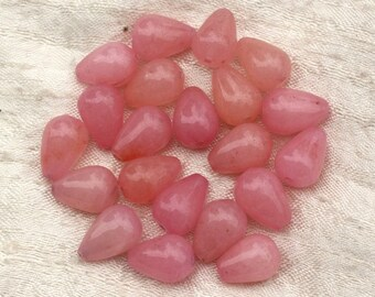 4pc - jade stone - pink peach coral 4558550020680 14x10mm drops