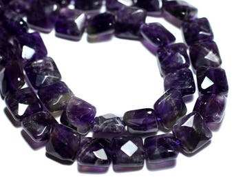 2PC - stone beads - Amethyst faceted 10mm - 8741140007628 squares