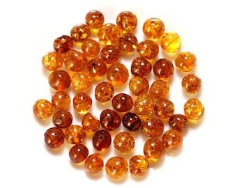5pc - amber beads - balls irregular 8-10mm - 4558550027788