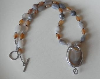 Cersei Agate necklace natural Onyx Tiger eye Brown