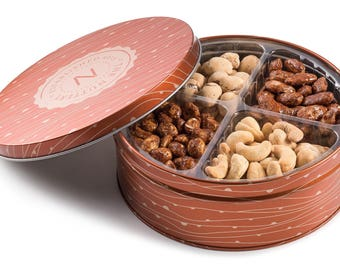 The Nuttery Metal Tin Gift Box- Mixed Nuts Gift Tray- 4 Sectional Nut Gift  sc 1 st  Etsy : sectional tray - Sectionals, Sofas & Couches