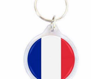 France - Ø40mm flag key chain