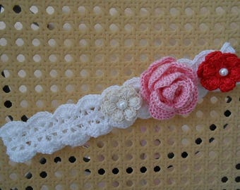 Floral cotton baby white lace with a crocheted rose
