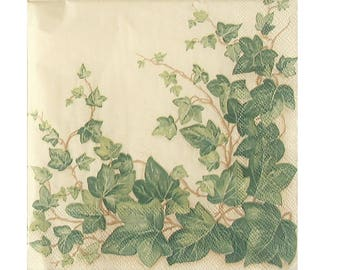 Set of 3 PLA006 Ivy paper napkins