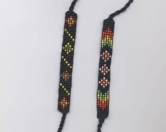 rasta multicolor braided seed Bead Bracelet