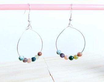 Hoop earrings-1 stone - silver