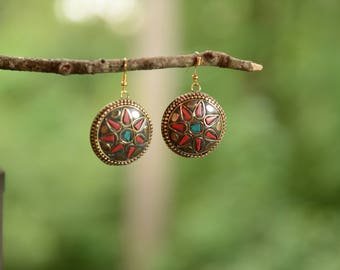 Artisan crafted turquoise & coral german silver earrings
