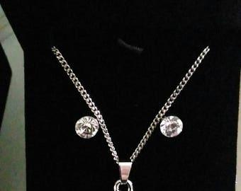 Valentine's day silver and zirconium set