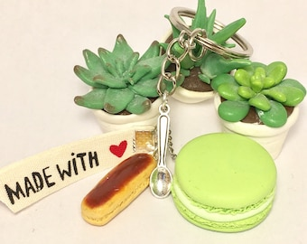 Button and zipper in polymer clay keychain
